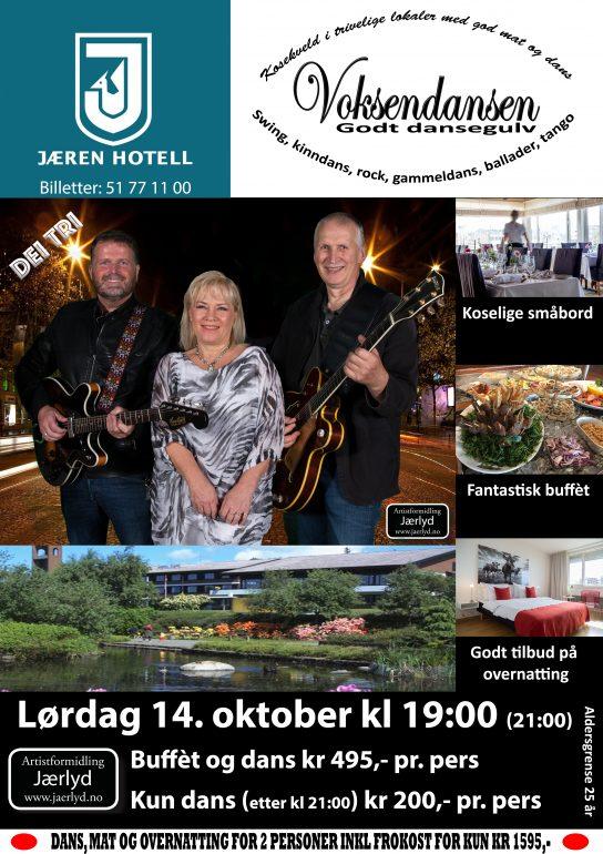 Voksendans på Jæren Hotell, Bryne 14. oktober 2017 med Dei Tri @ Jæren Hotell, Bryne |  |  |